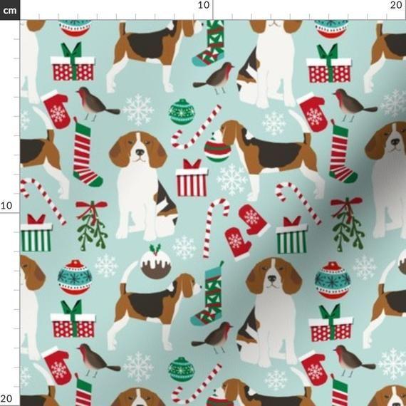 Christmas Beagle Fabric Beagle Christmas Cute Dogs Holiday By