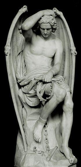 Génie du Mal, Statue en marbre de 1848 (par Guillaume Geefs, Cathédrale Saint-Paul de Liège