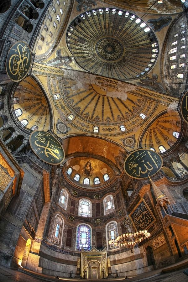 "Hagia Sophia, Istanbul - massive dome, it is considered the epitome of Byzantine architecture and is said to have ""changed the history of architecture."" // photo by erhan sasmaz"