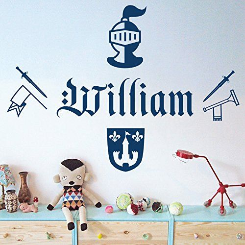 Personalised Name Boys Wall Art Sticker - Knight, Sword, Armour, Trumpet, Arms, Shield Wall Designer http://www.amazon.co.uk/dp/B00THYU6YU/ref=cm_sw_r_pi_dp_T6bnvb1FYWAHR