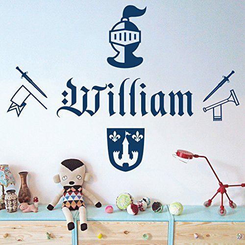 Personalised Name Boys Wall Art Sticker - Knight, Sword, Armour, Trumpet, Arms, Shield Wall Designer http://www.amazon.co.uk/dp/B00THYU6YU/ref=cm_sw_r_pi_dp_T6bnvb1FYWAHR