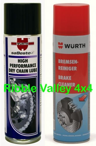 WURTH HIGH PERFORMANCE DRY BRAKE CHAIN LUBRICANT 500ml AND BRAKE CLEAN 500ml