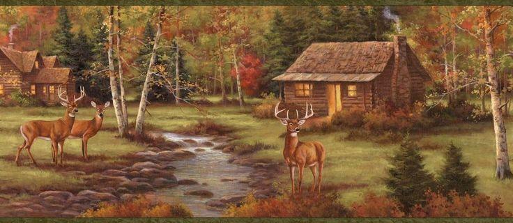 Deer Creek Lodge Easy Walls Wallpaper Border Chesapeake LL50051B #Brewster