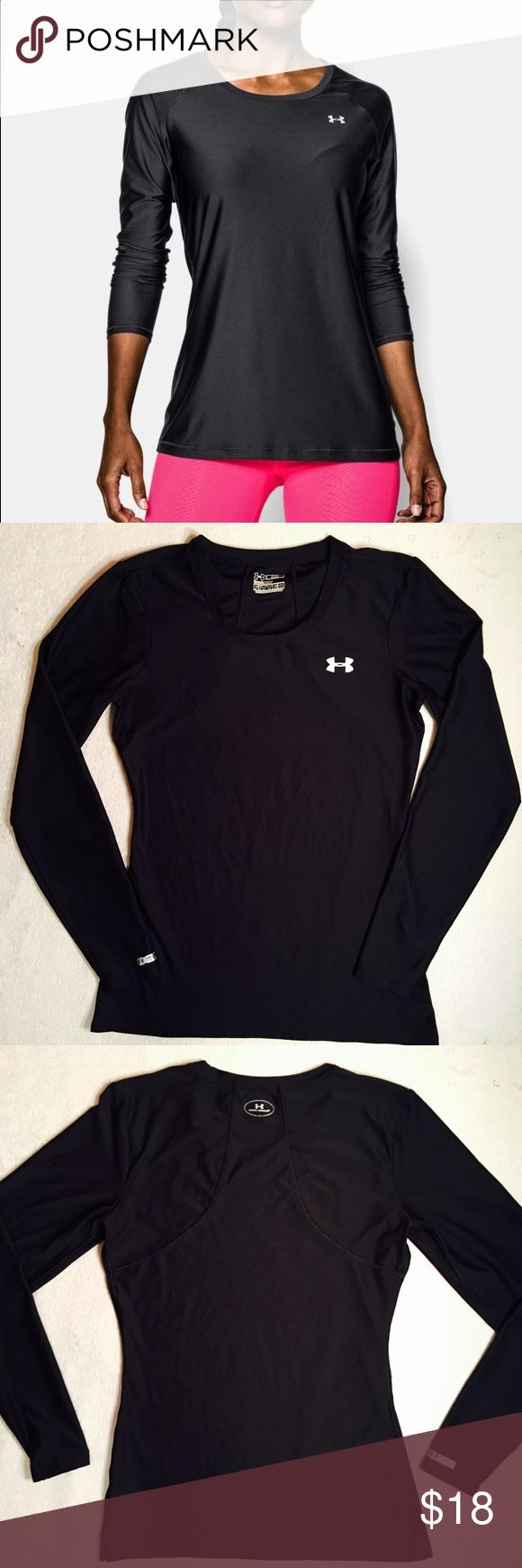 """Under Armour heat gear fitted long sleeve Under Armour fitted heat gear long sleeve top. Excellent condition. Size SM. Armpit to armpit 16 1/2"""". Shoulder to bottom hem 25"""". Black. Under Armour Tops"""