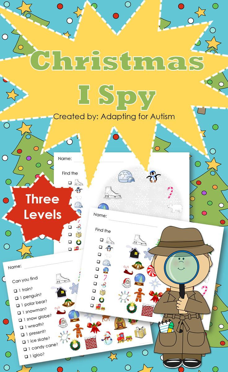 Christmas I Spy games - 3 levels. Created for students with autism and other visual learners.