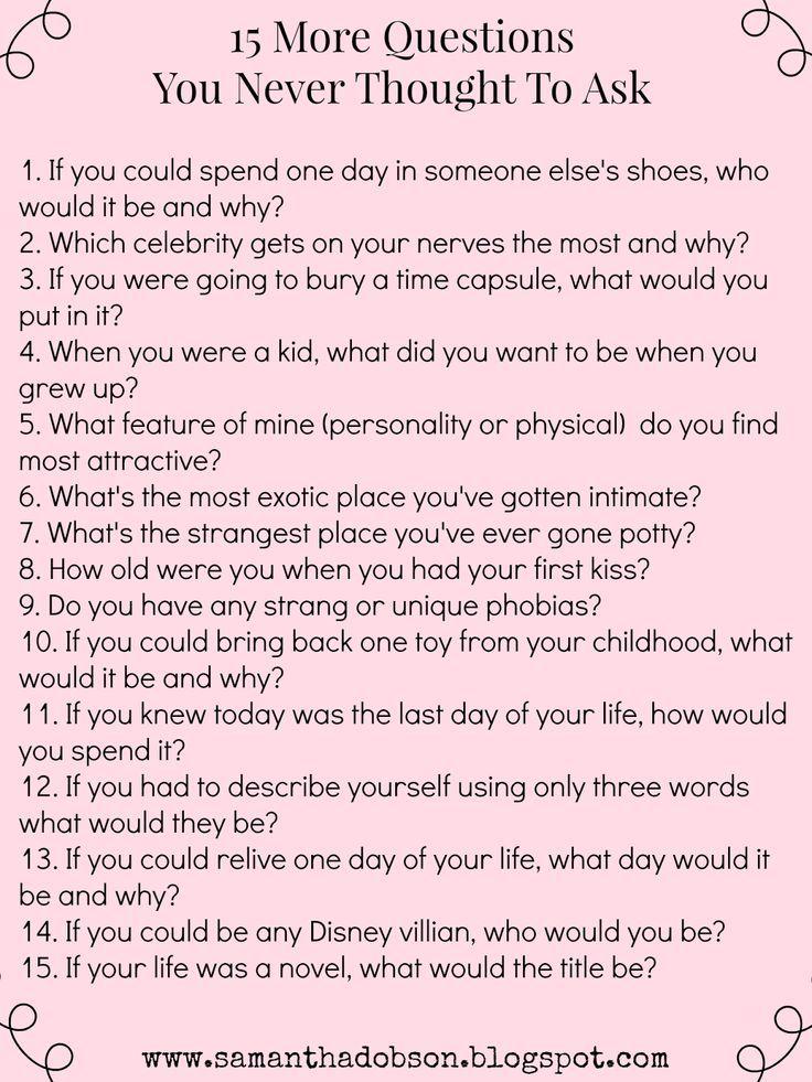 20 fragen um jemanden kennenlernen