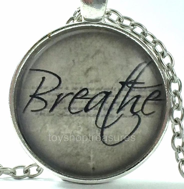New QuoteInspirational Necklace -  Breathe - Silver f