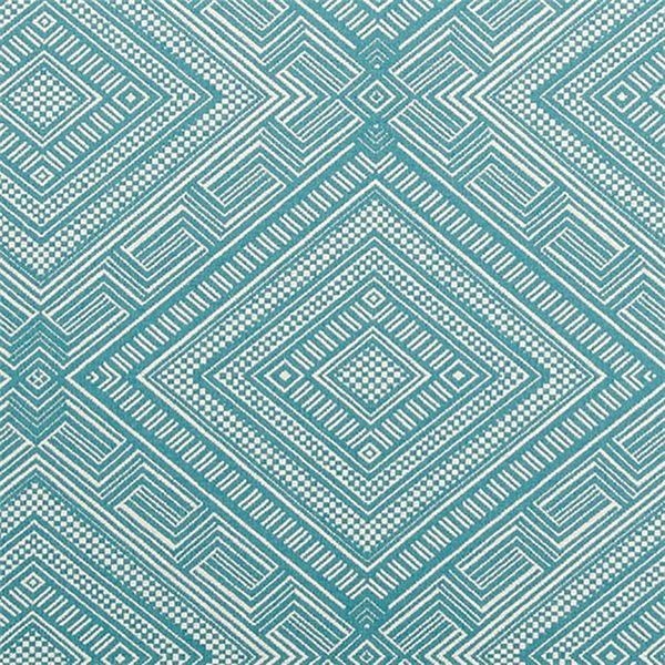 "Cliff Dwelling is southwestern-inspired upholstery fabric from Waverly. This gorgeous fabric features a large-scale geometric or diamond motif in turquoise blue and off-white. 70% Cotton, 30% Polyester57"" WideHorizontal Repeat: 14""Vertical Repeat: 11.5"""