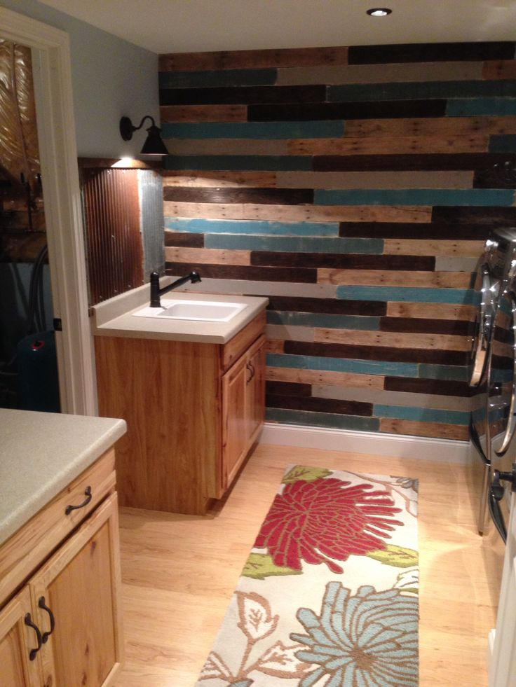 with a rustic painted pallet wall rusty corrugated steel backsplash