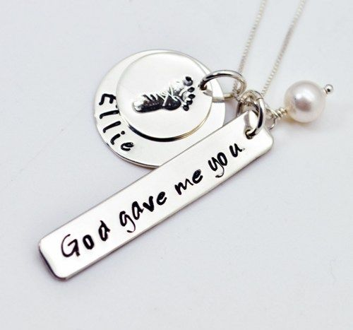 God Gave me You Baby Footprint New Mommy Necklace, Hand Stamped, Personalized Necklace, Gift, Mother, New Mom, Sterling Silver