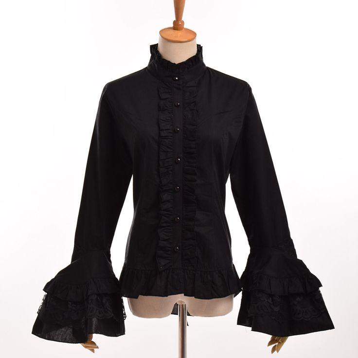 Черные/белые женские винтажные готика стимпанк блузка элегантный принцесса Империя Royal Лолита талии кружева рубашки топы