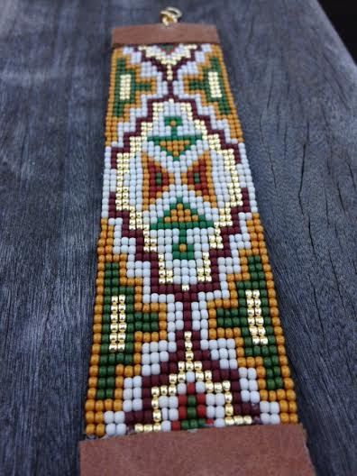 Adjustable Green Beaded Cuff Tribal Cuff Boho Cuff
