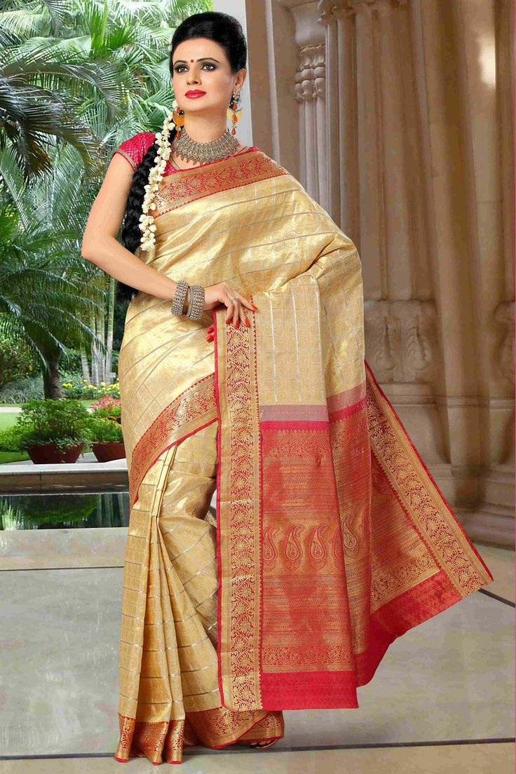 Cream embroidered art-silk saree with blouse