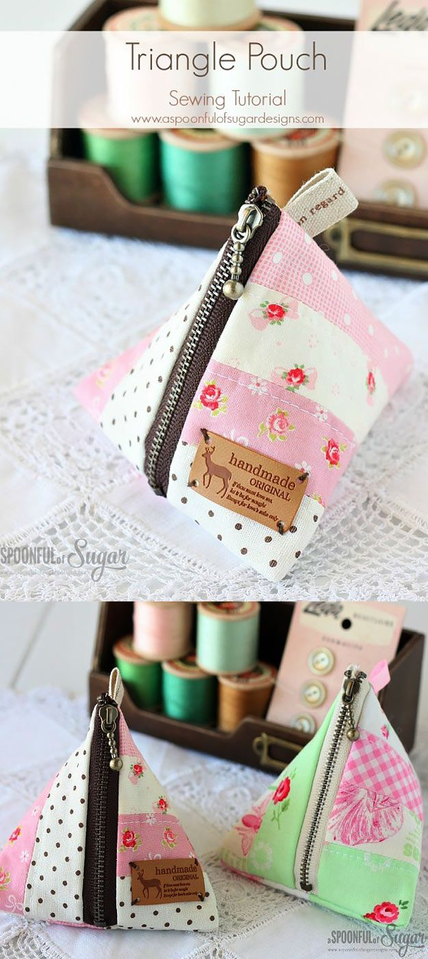 76 Crafts To Make and Sell - Easy DIY Ideas for Cheap Things To Sell on Etsy, Online and for Craft Fairs. Make Money with These Homemade Crafts for Teens, Kids, Christmas, Summer, Mother's Day Gifts. | Cute Triangle Pouch | diyjoy.com/crafts-to-make-and-sell - more at megacutie.co.uk