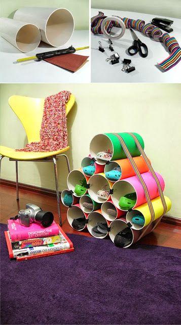 EL MUNDO DEL RECICLAJE: DIY zapatero con tubos de PVC