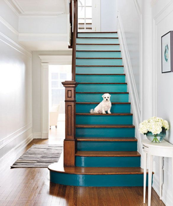 Teal-gradient painted stairs - great style! [cooling to the eyesight too - will use this style for our staircase]