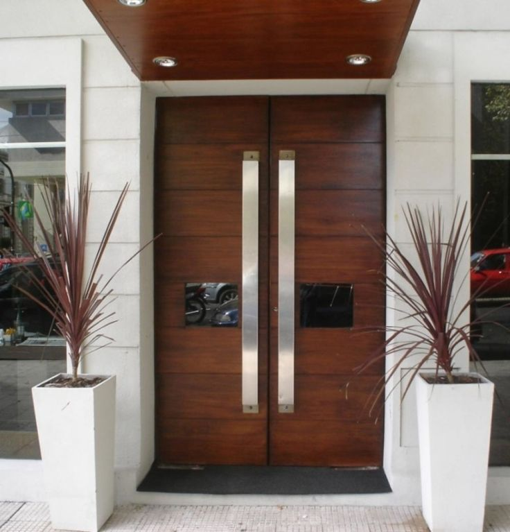 Exterior, : Entrancing Modern Front Porch Decoration Using Mahogany Wood Double European Exterior Doors Including Recessed Light In Front Porch And Nickel Chrome Door Handle