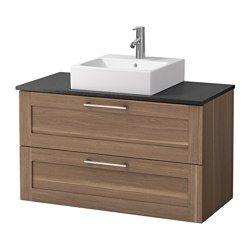 IKEA - GODMORGON/ALDERN / TÖRNVIKEN, Wastafelcombi 45x45 v bovenblad, zwart steenpatroon, walnootpatroon, , Gratis 10 jaar garantie. Raadpleeg onze folder voor de garantievoorwaarden.Werkbladen van laminaat zijn zeer slijtvast en onderhoudsvriendelijk. Als je er wat zorg aan besteedt, blijven ze er jarenlang als nieuw uitzien.Je kan de wastafel plaatsen waar je wilt: in het midden, rechts of links.Soepel lopende en zachtsluitende lades met blokkeerstuk.Je kan de grootte van het vak in de…