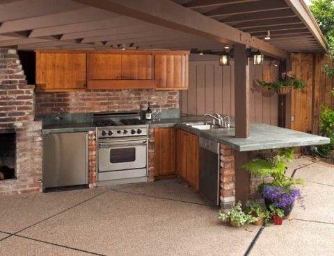 Barbacoas y cocinas de exterior patios exterior and - Pergolas rusticas de madera ...