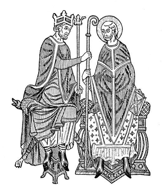 An illustration of Emperor Hendrik IV giving a man religious investiture so he could become a bishop to lead some territory of the HRE.  The investiture controversy which was fought between the emperor of the Holy Roman Empire and the Papal Stats lasted from 1075 - 1122. It was enden with the concordate of Worms (HRE).