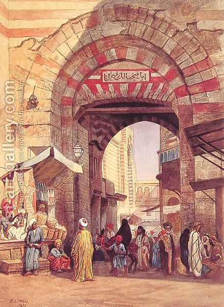 """A souk.  Most likely the place is Cairo.  Artist is Edwin L. Weeks.  The common label it carries is """"Moorish Bazar.""""   But there's no such thing as """"Moor"""" or """"Mooristan"""" or """"Moorish"""" in Arabic.  This term is a concoction by Western orientalist artists derived from """"Mauri"""" which was the name of a specific & small Berber community in North Africa.  From that, some foolish orientalists began addressing all Muslims as """"Moors.""""  Their lack of education was appalling."""