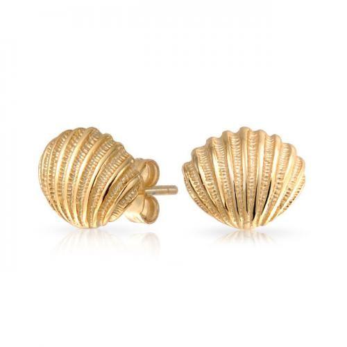 Bling Jewelry 925 Sterling Silver Gold Vermeil Nautical Seashell Stud Earrings
