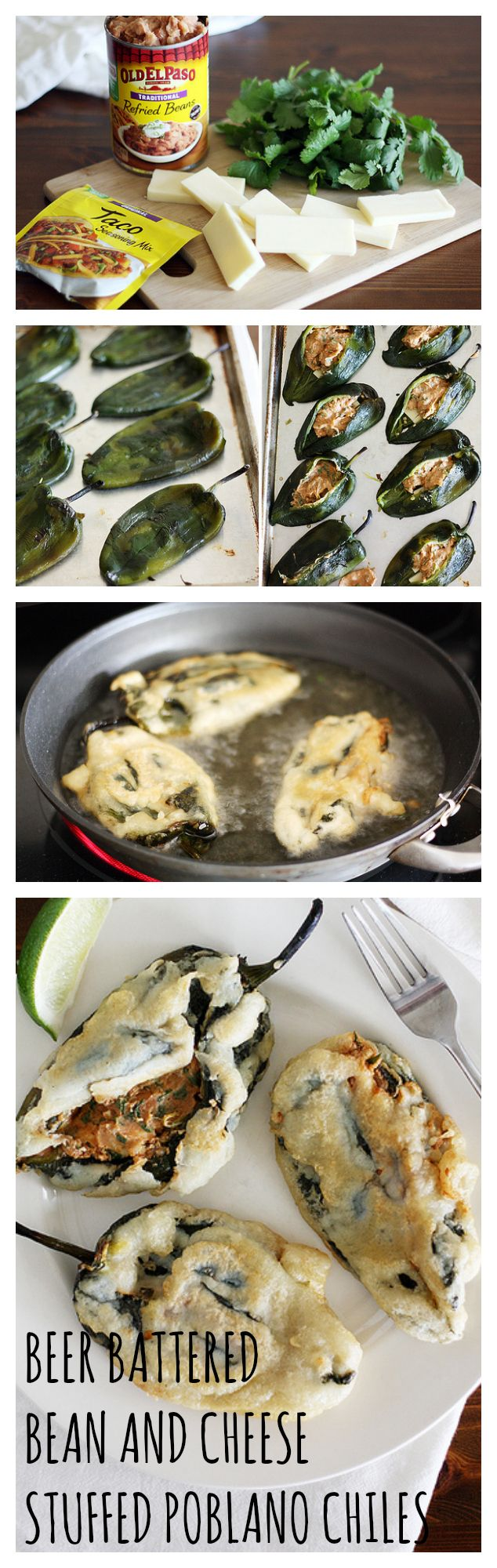 Beer Battered Bean and Cheese Stuffed Poblano Chiles | Recipe