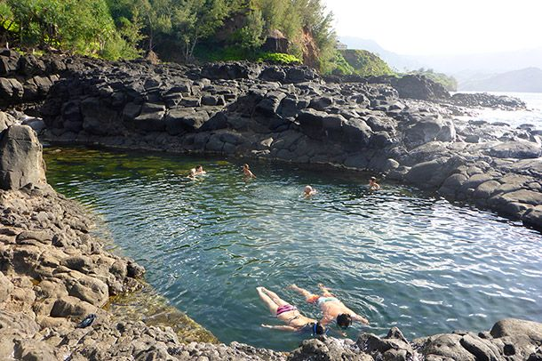 Feeling Like Her Royal Cat Lady-ness at Kauai's Queen's Bath