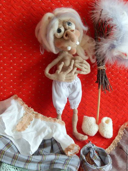Сказочные персонажи ручной работы. Заказать Баба-Яга. Интерьерная кукла-оберег.. Родная Анна (вязаные игрушки). Ярмарка Мастеров.
