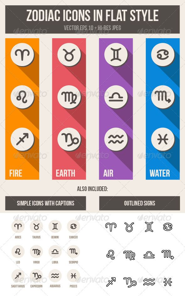 Zodiac Symbols Set  #GraphicRiver         Zodiac icons set. Simple and clean.   Images in 3 styles: 1) colorful flat; 2) simple; 3) black-and-white outlined.   Vector and raster: zip file contains 3 editable EPS10 vector file and 3 high resolution RGB JPG image.   Easy to recolor.     Created: 24November13 GraphicsFilesIncluded: JPGImage#VectorEPS HighResolution: Yes Layered: No MinimumAdobeCSVersion: CS Tags…