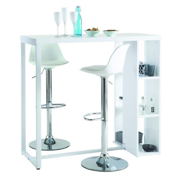 BREAKFAST Meuble bar 3 niches 120cm - Blanc - Achat / Vente mange-debout BREAKFAST Meuble bar Structure : Métal et dessus en MDF - Cdiscount