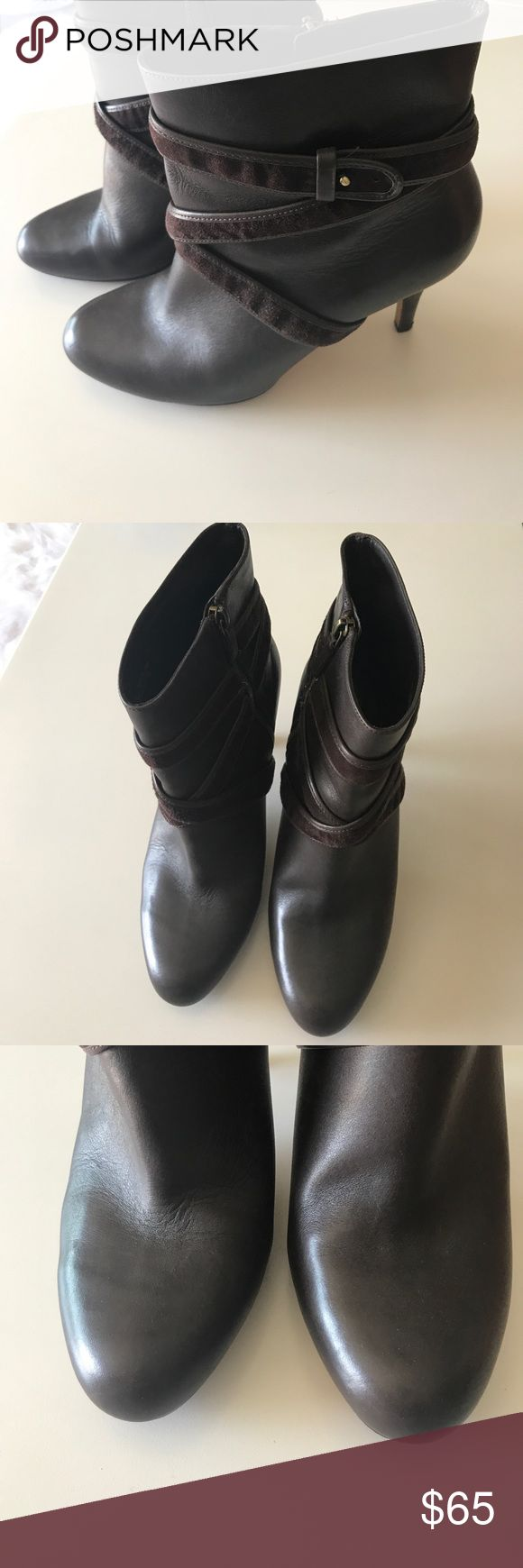 Cole Haan/Nike Air Boots 🦋 Brown leather and suade boots. Heel is 4 inches. Cole Haan by Nike Air makes this boot extra comfortable. Bottoms are a skid free rubber material. Comes about two inches above ankle 😎 Shoes Heeled Boots