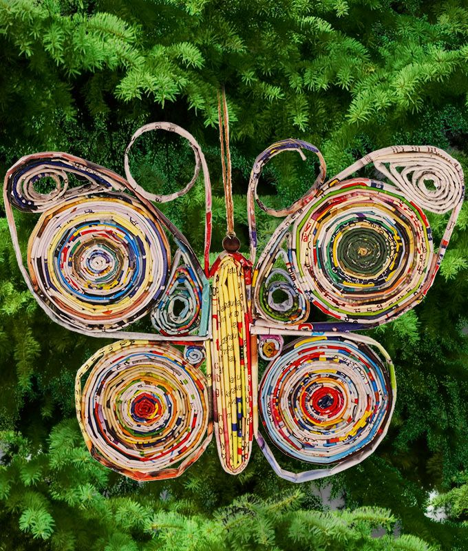 Recycled Magazine Butterfly Ornament
