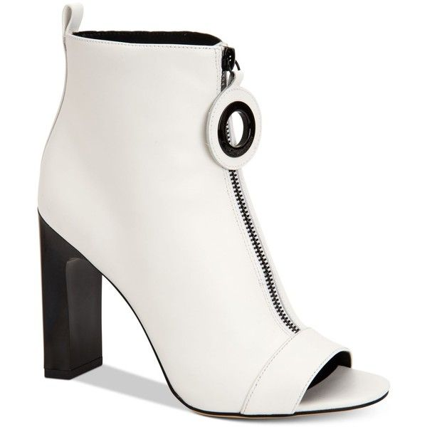 Calvin Klein Women's Minda Peep-Toe Ankle Booties ($169) ❤ liked on Polyvore featuring shoes, boots, ankle booties, platinum white, calvin klein booties, white peep toe booties, calvin klein, peep-toe boots and peep-toe booties