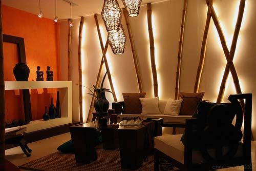 I like the idea, even if it was already a wall of bamboo, putting lights on some of the bamboo would be cool. Renewable Resource of Bamboo Decoration Material in Modern Interior Design