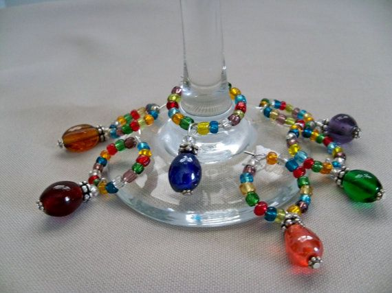 Rainbow Wine CharmsSet of Six by CoalCreekCrossing on Etsy, $18.00