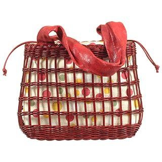 Capaf Cherry Red Wicker and Leather Tote Bag
