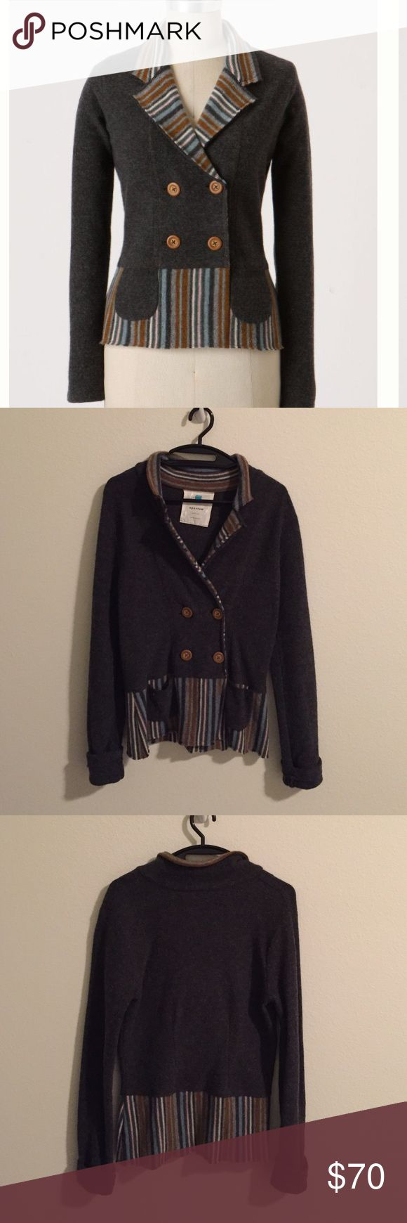 Statement style hpAnthro In-The-Lines Cardigan Anthropologie In-The-Lines Cardigan. Fun front pockets and pin-stripe details. Front button closure. Lambswool. In excellent condition. Anthropologie Jackets & Coats Blazers