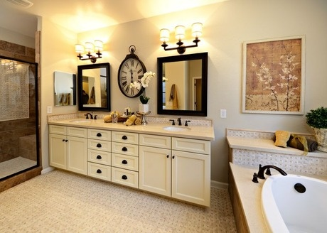 A large black clock complements two mirrors. Residence 2 by Keystone Homes at Rancho Madera. Cave Creek, AZ. #StartFreshBuyNew