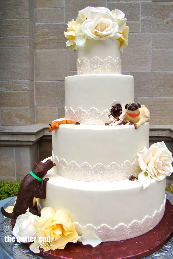 dog, pug, chocolate lab, cake, dog cake, dog eating cake, wedding, greystone mansion, wedding cake, the butter end, funny, novelty cake, custom,