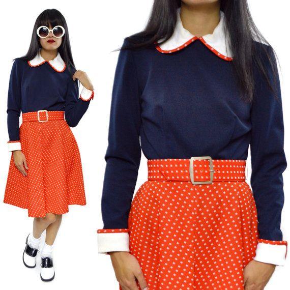 Vintage 60s Pedestal Originals Inc. Mod Polka Dot Casual Dress Outfit by DopedollVintage, $60.00