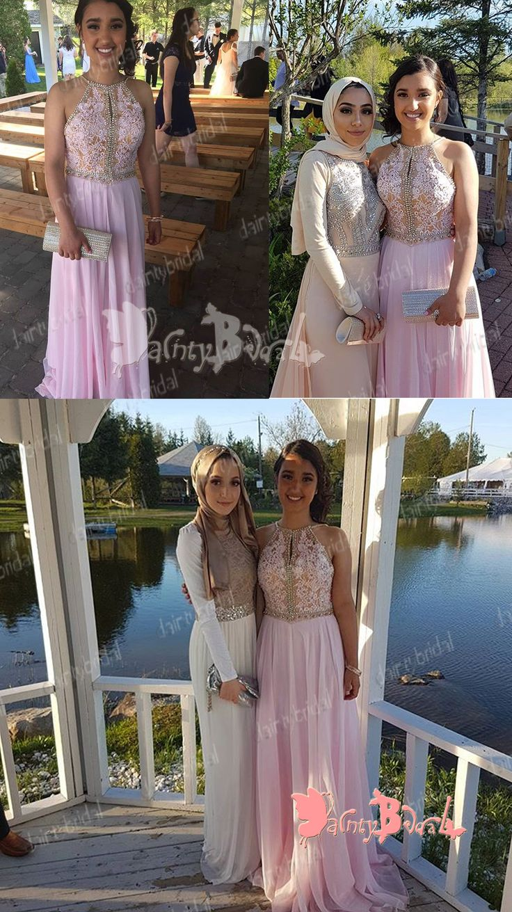 GORGEOUS BEADING PINK LACE TOP CHIFFON CHARMING SPAGHETTI STRAP LONG PROM GOWN DRESSES. DB1038