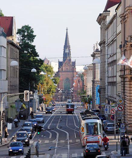 "Brno, Husova street with so called ""Red church"" (South Moravia), Czechia"
