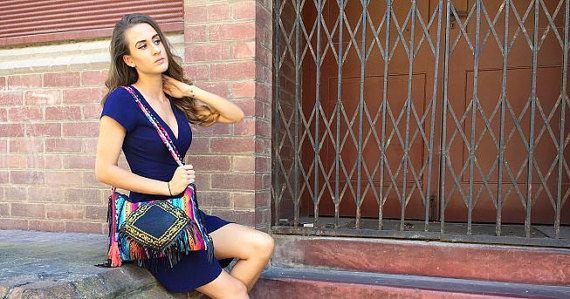 Hand made Designer Ladies handbag Bohemian Hippie shoulder/sling bag.  Mexican inspired messenger Shopping bag/purse. Crossbody with tassels