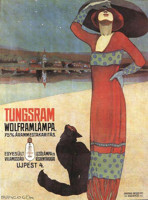 Faragò Géza (1877-1928) – Affiche pour les ampoules Tungsram (1910)