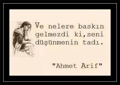 Ahmed Arif ah bıyıklarım buz tuttu üşüyorum da zemheri de uzadıkça uzadı nelere nelere gelmez ki seni düşünmenin tadı
