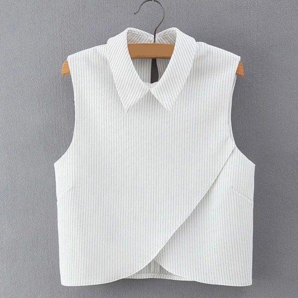 Elegant Sleeveless Turn-Down Collar Striped Blouse For Women