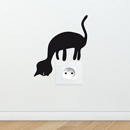 Sticker chat curieux pour prise lectrique et interrupteur for Pochoir mural wc