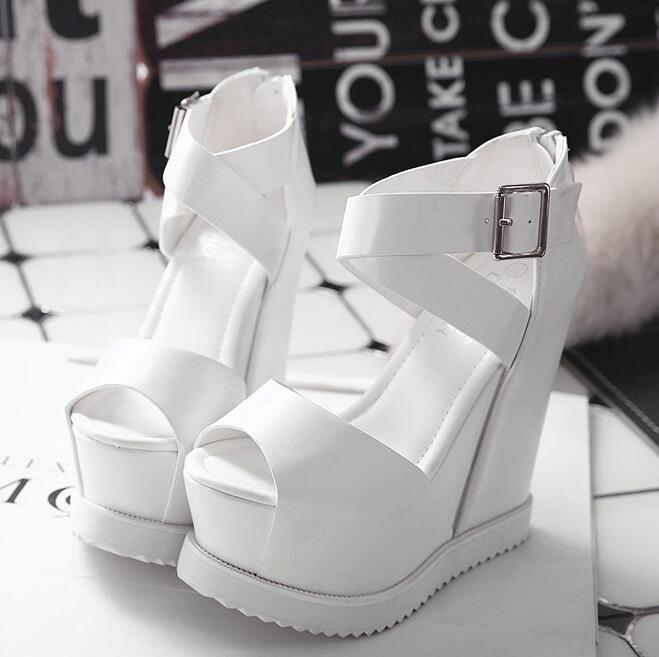 4 бесплатная доставка новый 2016 мода на лето на высоких каблуках женщины клинья сандалии девушки мода туфли на платформе zapatos mujer толстым дном 15 см купить на AliExpress