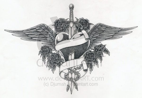 dagger and wings tattoo - Google Search